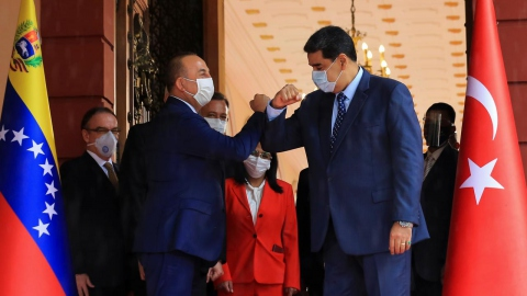 President Nicolas Maduro welcomed Turkish Foreign Minister Mevlut Cavusoglu at Miraflores Presidential Palace on August 18. (Reuters)